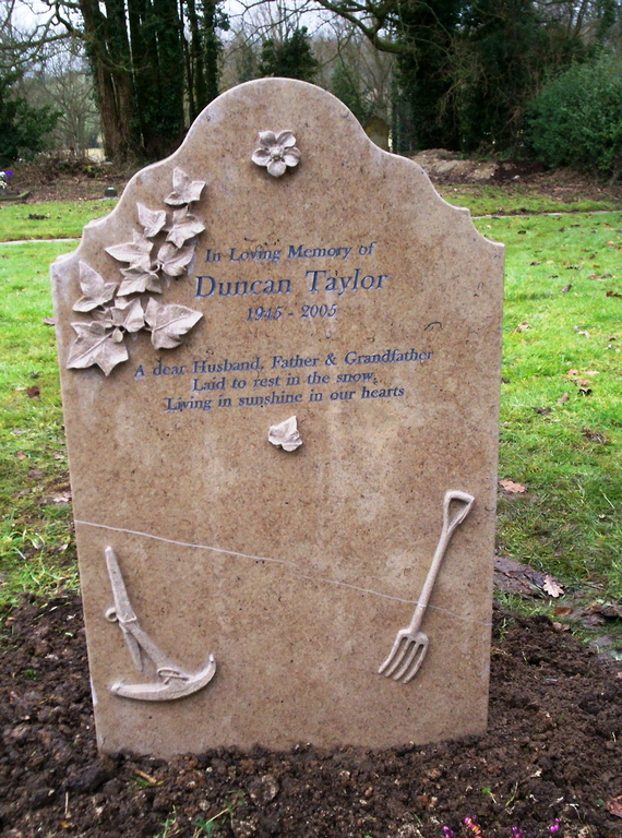 Purbeck headstone  with relief carvings- baskerville letters- taylor.jpg