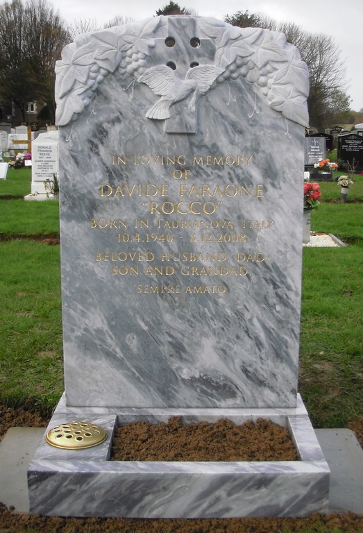 Dove Grey Marble- evgraved dove, cross and grape vine trajan letters.jpg